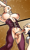 Muscled stud drills two hung t-girls with shaven h