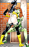 Green babe sucks batgirls tiny bat tits until she