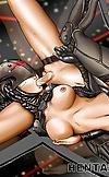 Passionate hentai shemale rubbing her immense dick